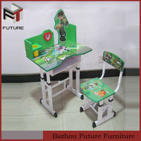 Adjustable height green kids desk and chair kids furniture