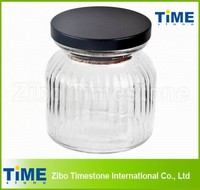 Round Ribbed Glass Jar with Black Wood Top