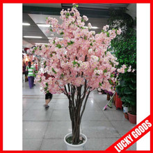 light pink silk artificial indoor cherry blossom tree for wedding decoration