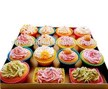 Lo más popular, taza de silicona en colores para panecillos/juego de moldes de horneado en silicona/tazas de silicona para hornear cupcakes