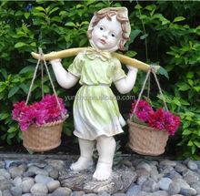 Small resin sculpture garden ornaments, children resin statue