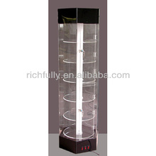 Round Glass Perfume display Cabinet with glass plate for exhibition