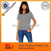 Customized navy korean striped t shirt for women