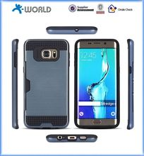 New arraival 2 in 1 hybrid metallic card slots case cover for samsung note 5 edge