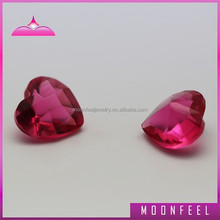 single heart shaped pink glass gemstones