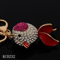 New Design Fashion diamond Goldfish 3D printing metal keychains