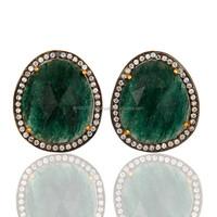 Party Wear Green Aventurine Studs Earring, New Model Earring Prong Setting Jewelry