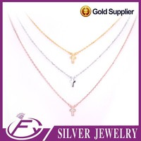 High grade polish shine cubic zirconia stone plated 24k gold necklace