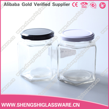 wholesale 380ml unique shape recycled glass jars for honey with metal lid
