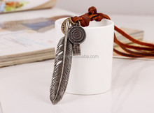 new coming tribal pendant real leather necklace with alloy charm pendants necklace N0095