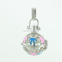 europe fashionable newest design high quality silver plated enamel cage charm pendant bell silver