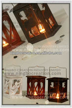 Wholesale New Christmas Pattern Wooden Lantern With Metal Top for Christmas Decoration