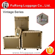 PU PVC Vintage suitcase/Handcrafted rivet suitcase with combination lock