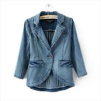 Autumn Winter Denim Jackets Women Turn-down Collar Single Breasted jean Jacket Women Clothing