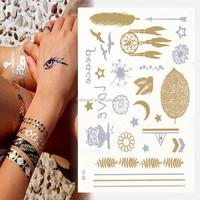 Tattoo sticker owl metalic waterproof body henna temporary henna glitter stencil waterproof paste flash ankle metal choker