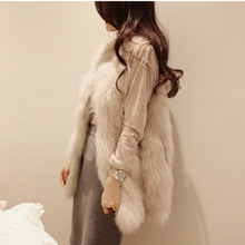 IV03 2015 Winter V-neck sleeveless faux fur vest women long waistcoat design vest S,M, L XL