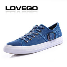 Outdoor men running sport canvas casual duck denim shoes with buckle man casual rubber shoe