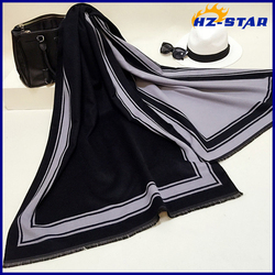 HZW-14890001 korean cashmere shawl and double couple of men and women striped scarf