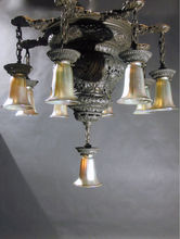 Circa 1895, Huge Bronze 9-Light Arts and Crafts Flush Chandelier