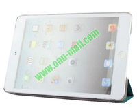 Refreshing Style Front Leather Cover with Back Transparent Hard Case Cover for iPad Mini
