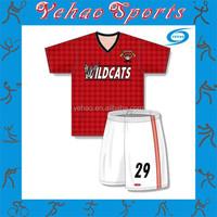 Red lattice design soccer uniform blue and white stripe design