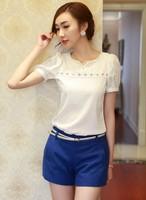 Women Girl's Elegant V Neck Chiffon Shirt Hollow Short Sleeve Women Transparent Blouse SV004724