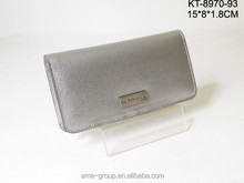 Luxury Silver Cross Pattern PU Leather Ladies Clutch Wallets And Purses