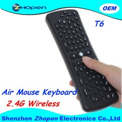 Cheap wireless 2.4ghz air mouse with mini usb receiver 2.4g mini fly air gyro mouse T6