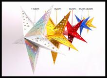 Custom christmas indoor decor lucky star paper pentagram ceiling pendant china manufacturer