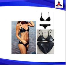 Neoprene Bikini with Leather Sexi Black Girls Cheap Bikini Set