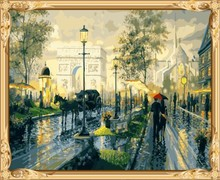 wall art city landscape abstract raining digital oil painting on canvas GX7587