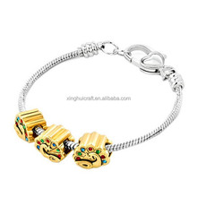 2015 Hot Chunky Chain Bracelet with Gold Plated Beads in Men's Jewelry