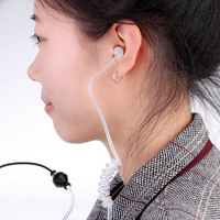 Anti-radiation Air Tube Stereo Headset Monaural In Ear MIC Headphones with Earbud for iPhone Samsung Xiaomi MP3 Tablet PC PA1997