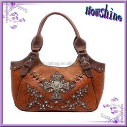 Vintage Lady Ostrich Genuine Leather Tote Bags China Wholesale Europe Style Designer Handbag