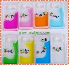Fashion design 3d liquid rubber duck dolphin swimming floating phone case For Samsung Galaxy note4