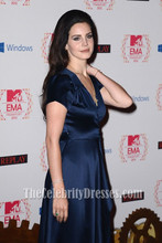 Celebrity Dresses Lana Del Rey Dark Navy V-neck Evening Dress 2012 Europe Music Awards Red Carpet