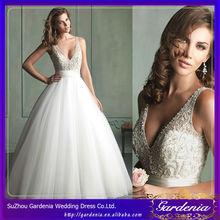 Magnífico vestido de bll profundo v- cuello orgnza blusa de dama venta al por mayor vestido de vestidos de novia hechos en estad