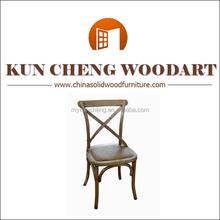 China Farmhouse Dark Wooden Cross Back Dining Chair/modern dining chair