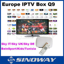 Full HD Europe ITV box Q9, android4.4 quad core with one year subscription French/SKY IT/SKY Germany/SKY UK/Beinspor