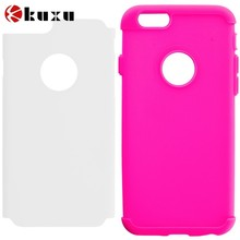 Hot Pink & White Hybrid Slim Hard Soft Rubber Impact Protector Case Cover for Apple iPhone 6 Plus