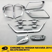 Full set car chrome accessories with 3M Tape fitsNISSAN NAVARA 2014 chrome car accessories