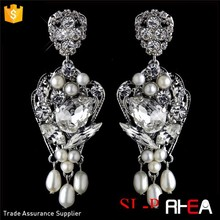 Factory Directly Bridal Pearls Earring Elegant Silver & White Pearl Bridal Earrings Chandelier