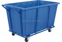 Strong customized laundry cart plastic clothing recycle bin with wheels and cage