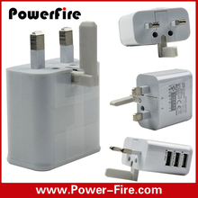 Wholesale UK 3pin plug usb wall charger for mobile phone with 3 usb