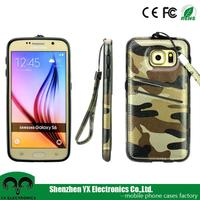 2015 camouflage wallet leather case for samsung galaxy S6 cell phone