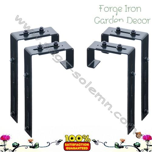 Adjustable Window Box Deck Rail Kit: Adjustable Window Box Metal Deck Rail Bracket Pair