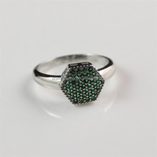 Unique Brass Jewelry Green Zircon Women Silver Plated Finger Ring