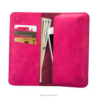 Rose red purse Jisoncase Handmade Bifold Retro Leather Wallet Long Purse Pocket Stylish Clutch Bag with Card Slots Note Section