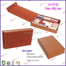 china supplier travel carry game case brown leather poker chip case D07-069