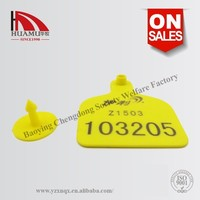 cattle ear tag with PVC material in yellow 95*75 mm